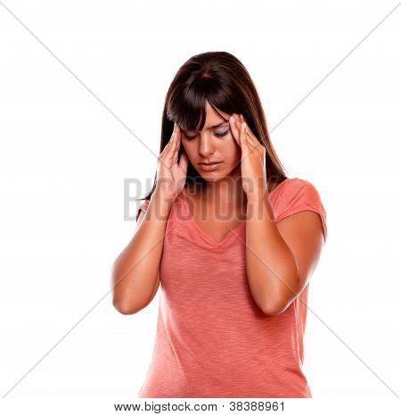 Stressed Young Woman Standing With Headache