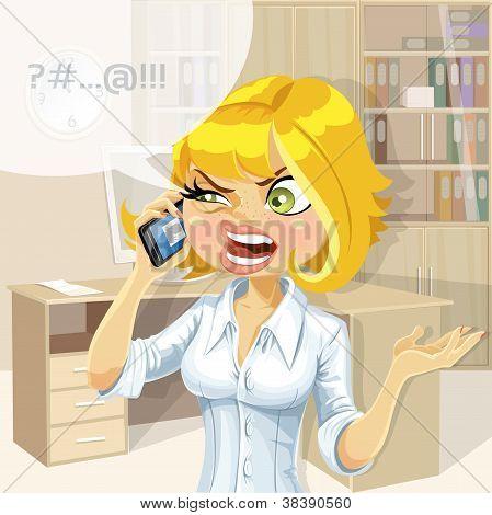 Loiro bonito no escritório menina falando no telefone algo desagradável