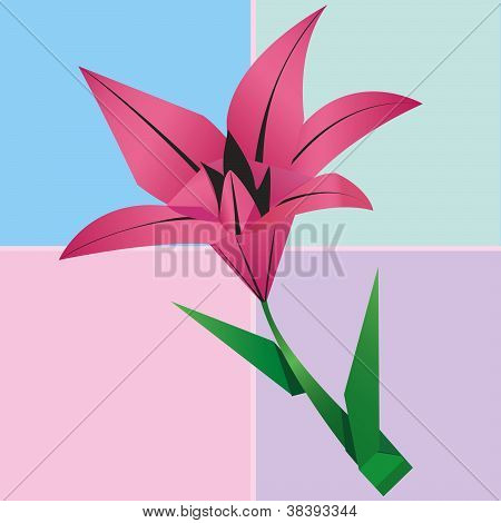 Origami Lily Flower Card, Colorful Floral Background