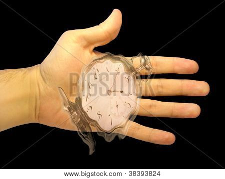 Hand With A Watch Showing Flowing-away Time