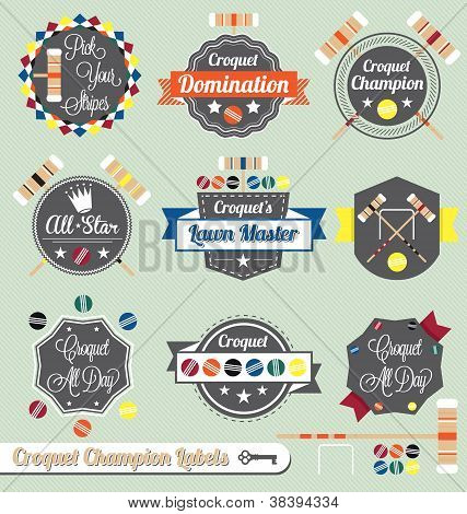 Vector Set: Vintage Croquet Champ Labels and Icons