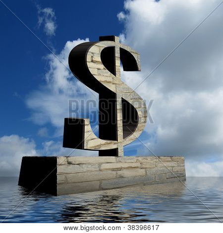 Dollar Sign Monument With Optimistic Outlook