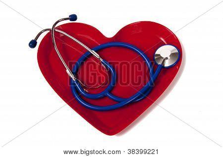 Stethoscope in Heart Plate