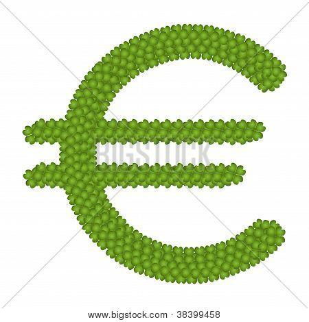 eine Knoblauchzehe vier Blatt des Euro-Symbols
