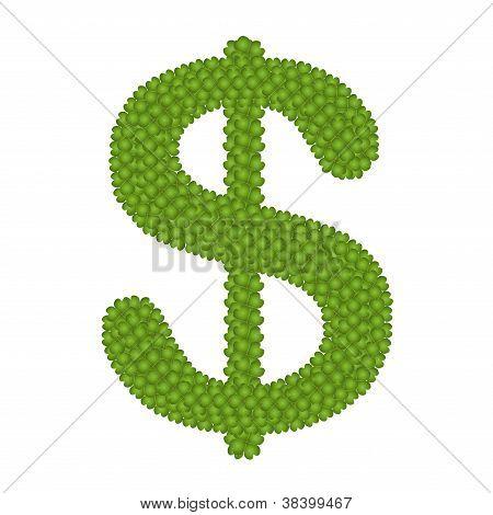 A Four Leaf Clove Of Dollar Sign