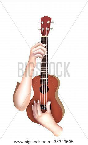 Person Showing A Wooden Ukulele Isolated On White Background