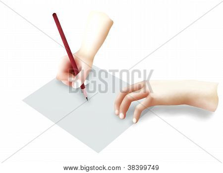Human Hand Holding A Pencil Writing On Paper