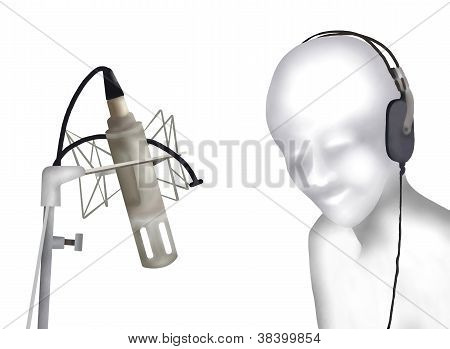 Singer Laying Down Some Vocal Tracks In A Recording Studio.