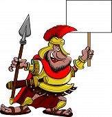 stock photo of spartan  - Cartoon illustration of a Spartan holding a sign - JPG