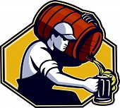 foto of keg  - Illustration of a bartender worker with carrying beer barrel keg on shoulder pouring beer into glass mug - JPG