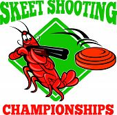 picture of crawdads  - Illustration of a crayfish lobster skeet target shooting using shotgun rifle aiming at flying clay disk with diamond shape in background done in cartoon style with text skeet shooting championships - JPG