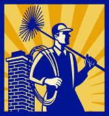 foto of sweeper  - Illustration of a chimney sweeper cleaner worker with sweep broom viewed from side with chimney stack set inside square done in retro style - JPG