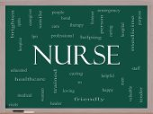 stock photo of rn  - Nurse Word Cloud Concept on a Blackboard with great terms such as rn care brighten caring helpful and more - JPG
