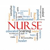 stock photo of rn  - Nurse Word Cloud Concept with great terms such as rn care brighten caring helpful and more - JPG