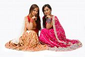 stock photo of indian wedding  - Two beautiful harem girls or belly dancers Hindu brides sitting isolated - JPG