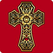 stock photo of metal sculpture  - Cross drawing with golden floral ornament decoration - JPG