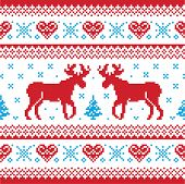 image of knitwear  - Red and blue Xmas seamless background with reindeer  - JPG