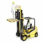 Abstract White Man In A Fork Lift Truck, Lifting Other Worker On A Fork