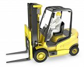 Abstract White Man In A Fork Lift Truck