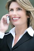 Headshot Of A Business, Corproate Woman, On Cell Phone