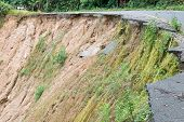 image of landslide  - Damage road from landslide in mountain of Thailand - JPG