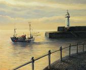 image of leaving  - An oil painting on canvas of a sunrise landscape with a fishing boat leaving the port and an old lighthouse in Mevagissey - JPG