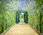 image of gazebo  - An oil painting on canvas of a garden walkway at Schonbrunn Palace in Vienna Austria - JPG