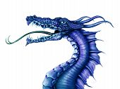 stock photo of arthurian  - Illustration of a fierce blue dragon on a white background - JPG