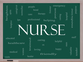 pic of rn  - Nurse Word Cloud Concept on a Blackboard with great terms such as rn care brighten caring helpful and more - JPG