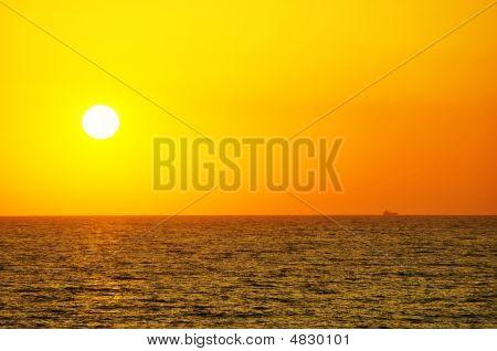 Orange Sky And Dramatic Sun