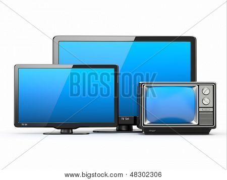 High Definition TV. Different screen sizes. 3d