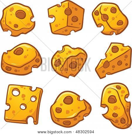 Swiss cheese pieces. Vector clip art illustration with simple gradients. Each on a separate layer.