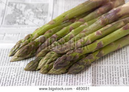 Green Asparagus On Newspaper