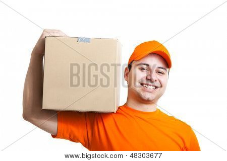 Delivery boy isolated on white