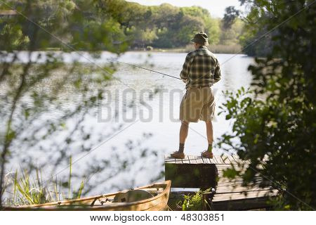Man fishing on pier
