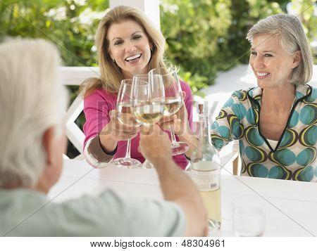 Three happy middle aged people toasting wine glasses at verandah table