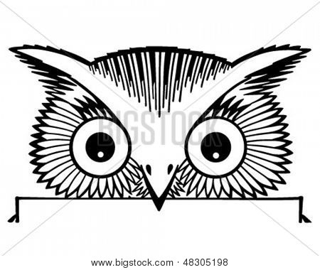 Peeking Owl Motif - Retro Clip Art Illustration