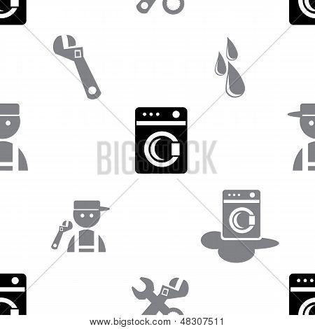 Black Washing Machine Seamless Pattern