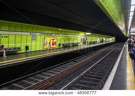 Underground station of city rail