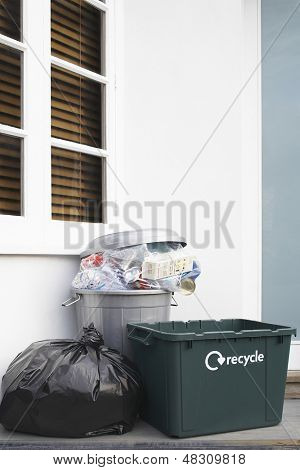 View of garbage containers outside the building