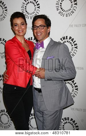 "LOS ANGELES - JUL 16:  Bellamy Young, Dan Bucatinsky arrives at  ""An Evening With Web Therapy: The Craze Continues..."" at the Paley Center for Media on July 16, 2013 in Beverly Hills, CA"
