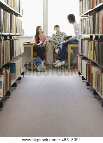 Multiethnic students discussing homework in the library