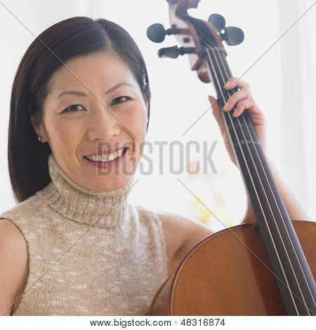 Close up of  woman with cello