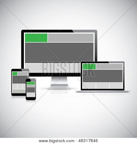 Highly detailed responsive web design concept vector