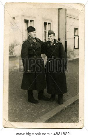 BUDAPEST, HUNGARY, CIRCA 1945: Antique photo, portrait of a two soldiers of the Red Army, circa 1945