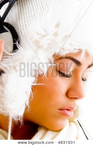 Young Girl Listening Light Music With Closed Eyes