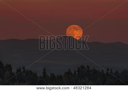 Moonrise Over Oregon Landscape
