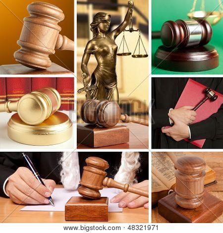 Conjunto de mazo de madera y Ley 7