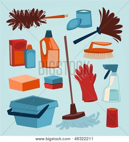 Reinigungswerkzeuge. Haushalt-Serie Vektor-Illustration.