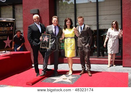 LOS ANGELES - JUL 16:  John O'Hurley. Bryan Cranston, Jane Kaczmarek, Aaron Paul at the Hollywood Walk of Fame Star Ceremony for Bryan Cranston at the Redbury Hotel on July 16, 2013 in Los Angeles, CA